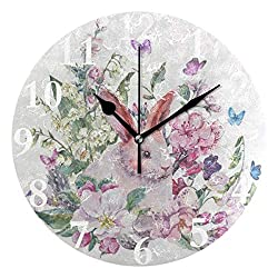 Ladninag Wall Clock Floral Butterfly Rabbit Bunny Silent Non Ticking Decorative Round Digital Clocks for Home/Office/School Clock