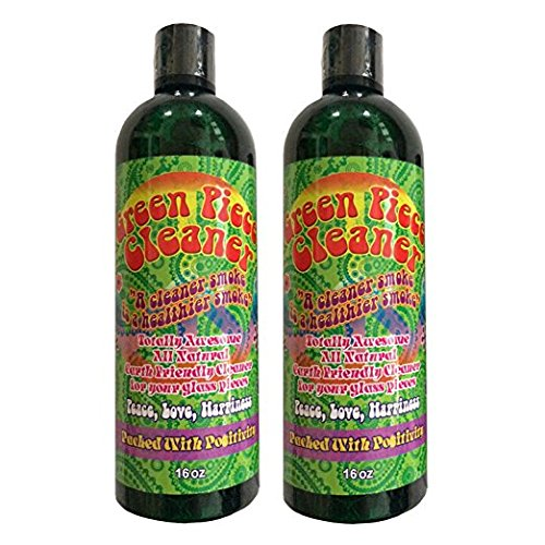 (2 Count - Green Piece Cleaner 16 oz - The All Natural Glass Cleaner, Metal and Ceramic Water Pipe/Hookah/Bubbler - Earth Friendly Resin and Tar Remover)