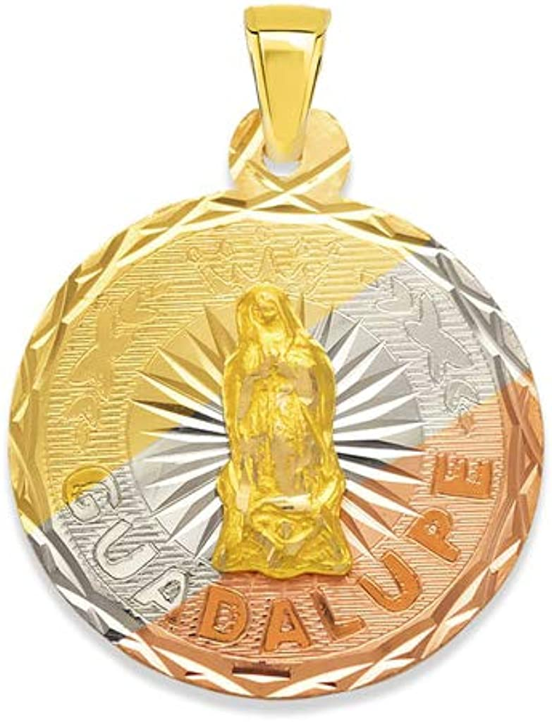 TOUSIATTAR 3色ラウンドグアダルーペスカプラリオ 14Kゴールドペンダント – ラグジュアリーカトリックキリスト教ネックレスチェーン – 女性への素敵なジュエリーギフト 16mm & 18mm & 20mm イエロー