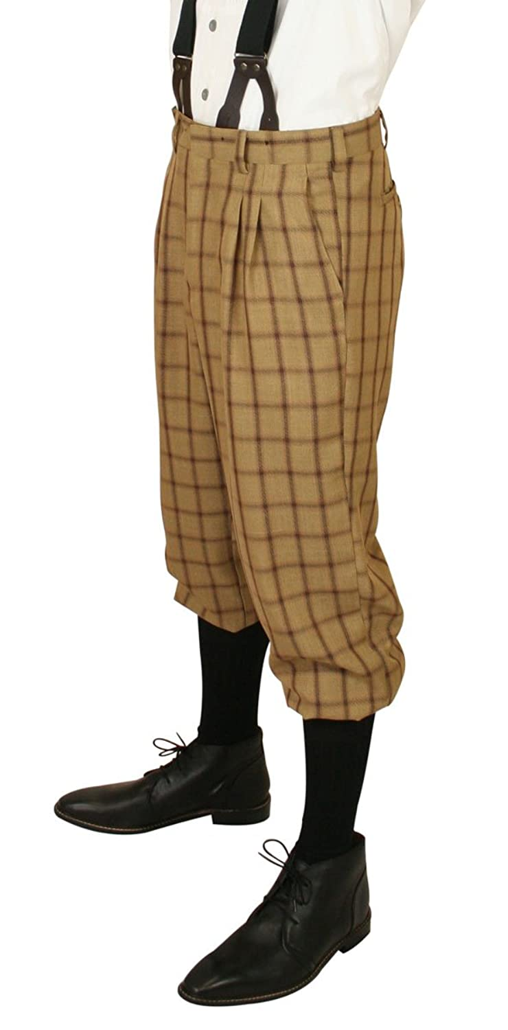 Men's 1900s Costumes: Indiana Jones, WW1 Pilot, Safari Costumes HE  Harvey Plaid Knickers $64.95 AT vintagedancer.com