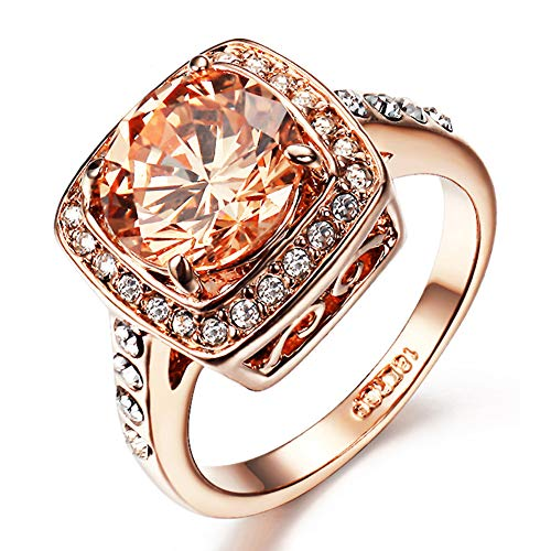 (Yellow Shinning Cubic Zirconia Topaz Rings For Women 18K Rose Gold Plated)
