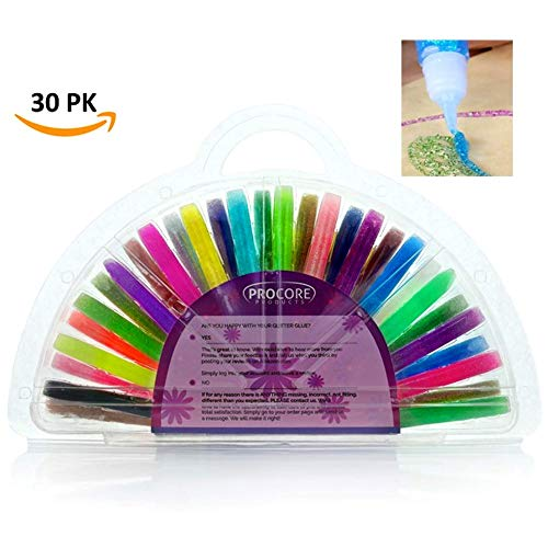 (Glitter Glue Pens Glue Tubes with Glitter 30 Iridescent Glue Sticks for Kids Adults Use for Crafts, School Projects, Scrapbooking : Hard Plastic Storage Case, 30 Assorted Colors by ProCore Products)