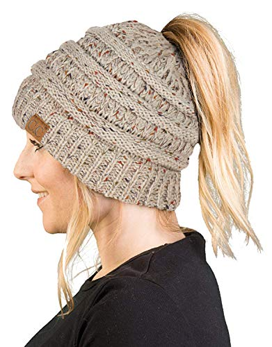 BT-6800-3367 Messy Bun Womens Winter Knit Hat Beanie Tail - Oatmeal (Confetti)