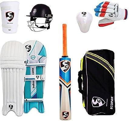 ba39e9bad Amazon.com   SG Multicolor Economy Cricket Set Full Size (Senior) with Helmet  Cricket Kit (Kitbag