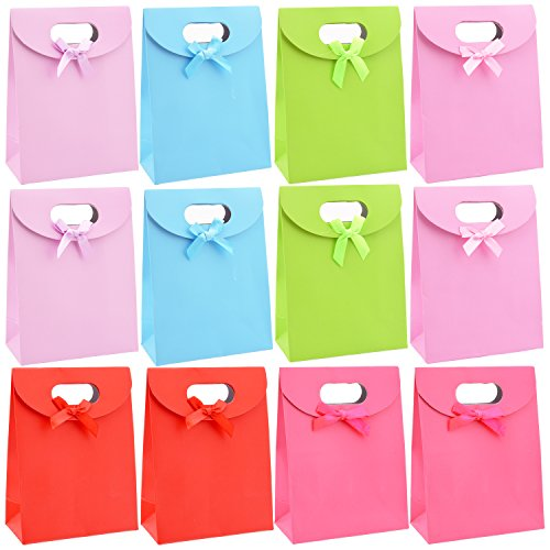 Livder Small Sized Colorful Paper Present Gift Bags for Party Birthday Wedding, 12 Pieces