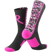 TCK Sports Breast Cancer Awareness Pink Ribbon Digital Camo Crew Socks