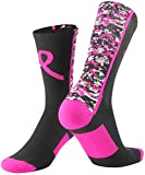 TCK Sports Breast Cancer Awareness Pink Ribbon Digital Camo Crew Socks, Black/Hot Pink, Large