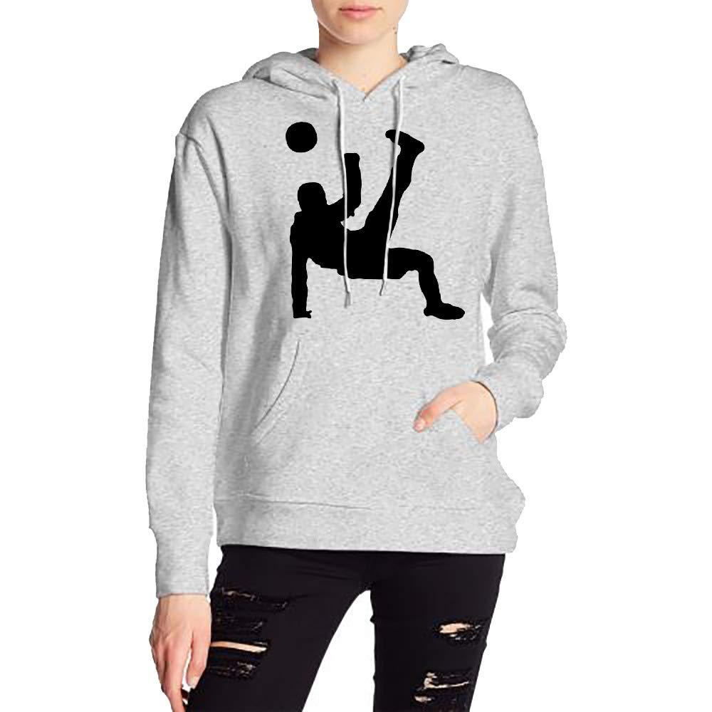 JiJingHeWang Woman Fussballspieler Rueckfallzieher Long Sleeve Casual Style Drawstring Hooded