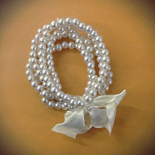 5 Pc Stretch Vintage Ivory Faux Pearl Bracelet , Wedding, Bridal Party , Bridal jewelry, pearl wedding/ party favor