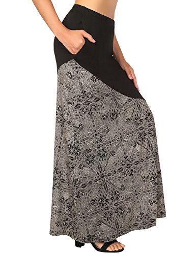 avec Haute Poches Jupe Noir DJT Et Longue imprime Bohmienne Jupe vase Vintage Jupe Taille Femme qwXFP7Xa