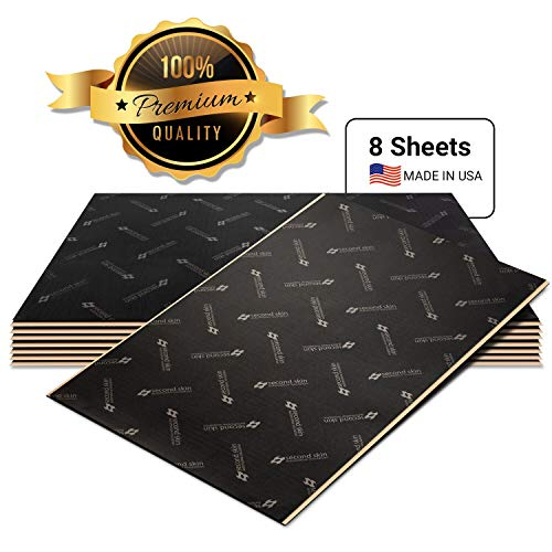 Second Skin Damplifier Pro Premium Car Sound Deadening Material (80mil) - Butyl Rubber Auto Sound Deadener Mat (13.67 Sq Ft, 8 Sheets) - Made in The USA
