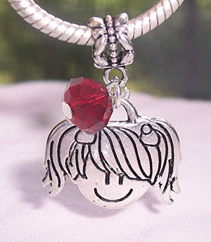 Little Girl Daughter Grandaughter January Birthstone Bead for Charm Bracelets