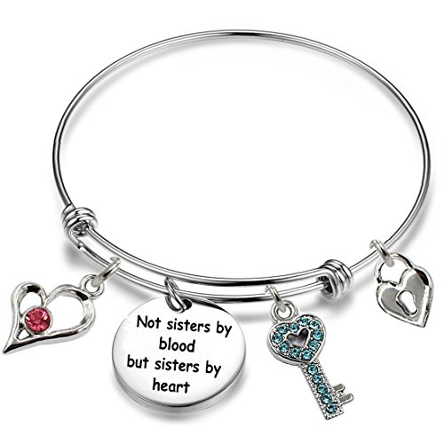 YOYONY Inspirational/motivational/LOVE/Memorial/Thankful/Beauty/Praise/Religious/Friendship Meaningful Message Charm Bracelets (Not sisters by blood but sisters by heart)