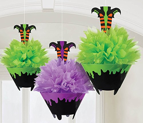 [Witch Legs in Cauldron - Fluffy Tissue Paper Hanging Halloween Decoration - Set of 3 - 10-1/2] (Wizard Of Oz Witch Socks)