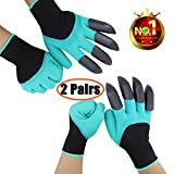2 Pairs Garden Genie Gloves with Fingertips Claws on Each Hand-- for Right Handers & Left Handers-- for Digging and Planting-- for Rose Pruning-- for Women & Men Gloves
