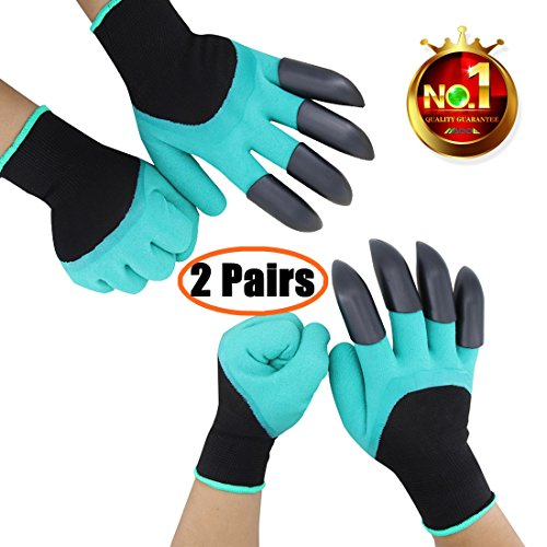 2 Pairs Garden Genie Gloves with Fingertips Claws on Each Hand-- for Right Handers & Left Handers-- for Digging and Planting-- for Rose Pruning-- for Women & Men - Gardening Waterproof Gloves