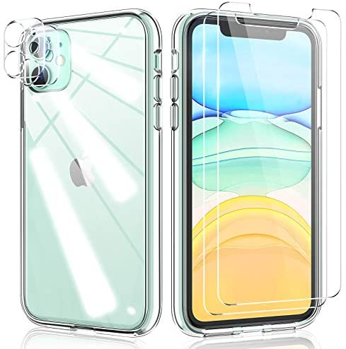 TAURI 3in1 Designed for iPhone 11 Case [Not-Yellowing] [6 FT Military Grade Drop Protection] with 2 Pack Tempered Glass Screen Protector and 2 Pack Camera Lens Protector, Slim Cover - Clear