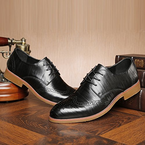 Hollow uomo Carving Shoes pelle fodera EU Scarpe fodere uomo Matte da Lace Nero Up Dimensione da 42 Wingtip Brogue traspirante pelle Vera in BMD Nero Scarpe di Color zwdz7O