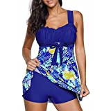 Clearance Sale Women's Tankini Sets Front Cross Push-up Padded Bra and Boy Shorts Swimwear Swimsuit Set Plus Size (Floral Blue, S)