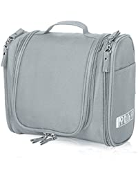 Hanging Toiletry Bag for Travel, Cosmetic Kit, Large Essentials Organizer, Sturdy Hook, Makeup Bag, Waterproof for Men and Women, Grey