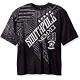 Southpole Men's Big and Tall Short Sleeve Foil and Screen Print Tee with Slanting Logo, Black, 4XL