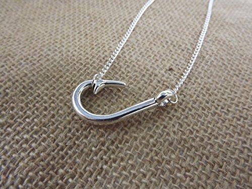 Jewelry tycoon®Sideways fish hook charm necklace in silver