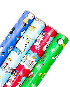 Hallmark Holiday Wrapping Paper (Peanuts, 4 Pack)