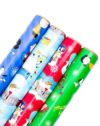 Gang Reverse (Hallmark Holiday Wrapping Paper Bundle with Cut Lines on Reverse, Peanuts (Pack of 4, 110 sq. ft. ttl.))
