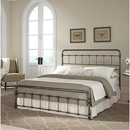 Pemberly Row King Metal Bed in Weathered Nickel