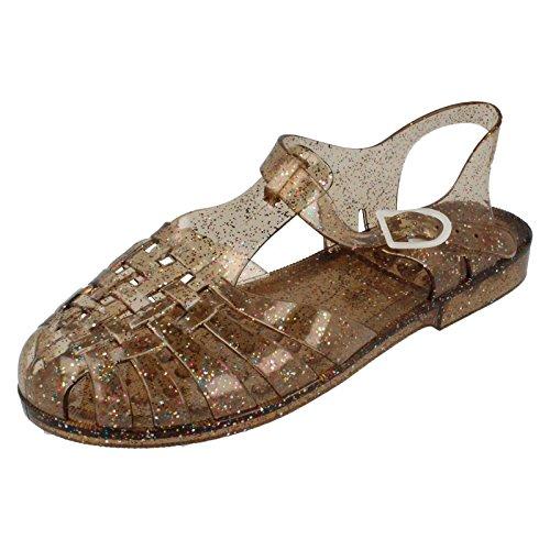 De Sur De De Place F0713 Gelée Paillettes Bronze Sandales Dames Des Boucle T7X4qZAw