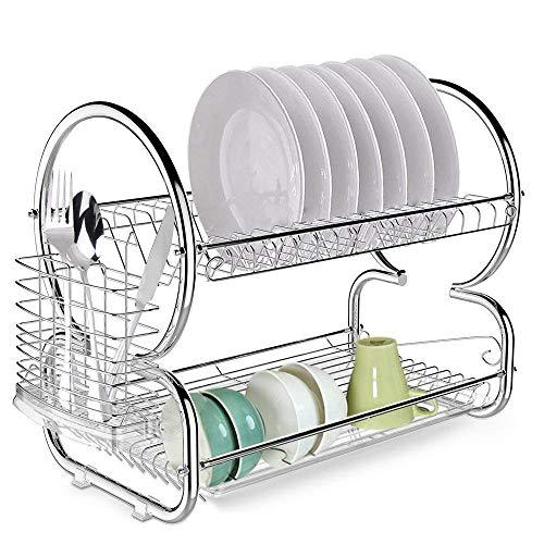 Keland Kitchen 2 Tier Dish Drainer Drying Rack,Stainless Ste