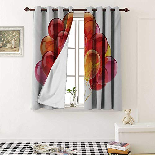 Flyerer Orange and Pink Customized Curtains Festive Warm Colored Balloons with Swirls Celebration Themed Composition Curtains for Kitchen Windows W63 x L45 Inch Multicolor