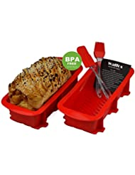 Walfos Nonstick Bakeware 2 Piece Loaf Pan Set (2, Red)