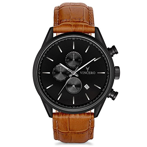 Vincero Luxury Limited Edition Mens Chrono S Wristwatch - Black Dial with a Matte Black Case & Tan Italian Leather Watch Band - 43mm Chronograph Watch - Japanese Quartz Movement - Amazon Exclusive