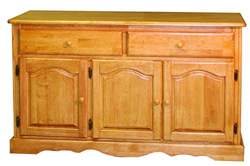 Sunset Trading Treasure Buffet in Light Oak Finish, Light Oak - Glass Oak Sideboard