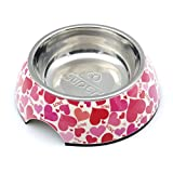 SUPER DESIGN Classic Removable Stainless Steel Pet Food and Water Bowl in Round Melamine Stand with Non-Skid Rubber Bottom Easy to Clean Dishwasher Safe for Dogs and Cats L Love Pattern