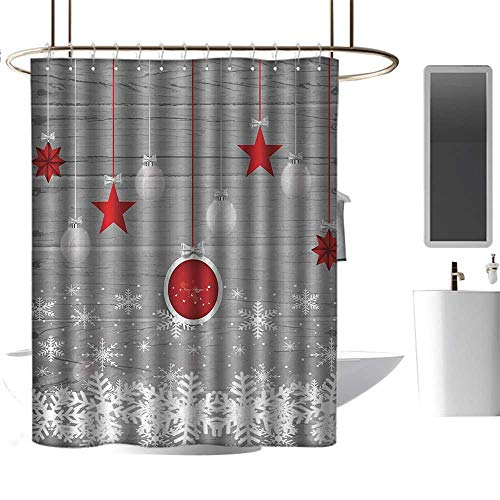 Shower Curtain Hooks Christmas,Traditional Celebration Theme with Pendant Stars Baubles Ornate Snowflakes,Grey Red White,Eco-Friendly,for Bathroom Curtain 36