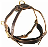 Dean and Tyler The Cowboy Solid Brass Hardware Leather Dog Harness, Brown, Medium – Fits Girth Size: 26-Inch to 34-Inch, My Pet Supplies