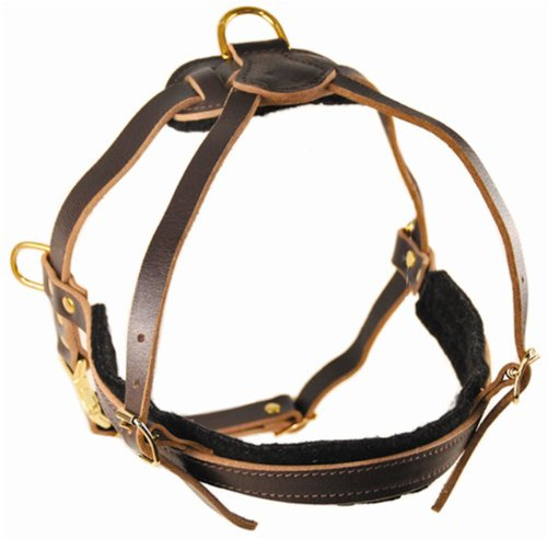 Dean and Tyler The Cowboy Solid Brass Hardware Leather Dog Harness, Brown, Small - Fits Girth Size: 20.5-Inch to 28.5-Inch by Dean & Tyler