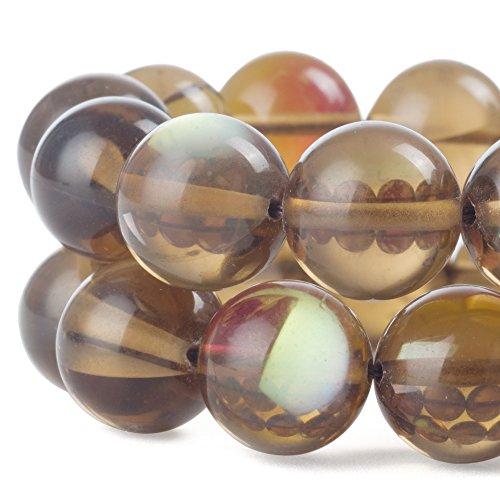 (RUBYCARoundMoonstoneCrystalGlassBeadsAuraIridescentfor Jewelry Making(1strand,10mm,Brown) )