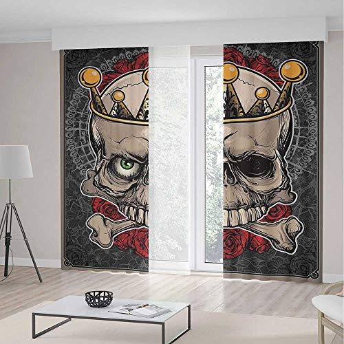 TecBillion Window Curtains,Gothic Decor,Living Room Bedroom Curtain,Skull with Crown Roses Bones Dead King Halloween Illustration,196Wx83L Inches -