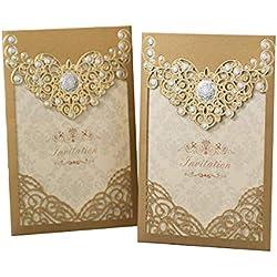 PONATIA 25PCS Laser Cut Invitations Cards Luxury Diamond Gloss Design Wedding Bridal Shower Invitation Baby Shower Engagement Birthday Invitation Graduation (Dark Gold)