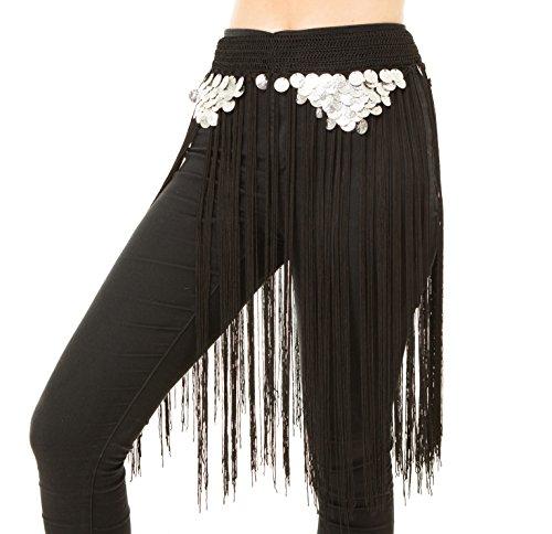 Turkish Emporium de Danse du ventre avec string eingearbeitetem Porte-monnaie ceinture hanches Chiffon Ceinture danse Noir/argent