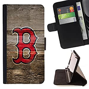 BullDog Case - FOR/Samsung Galaxy Note 4 IV / - / B Sports Team Monogram /- Monedero de cuero de la PU Llevar cubierta de la caja con el ID Credit Card Slots Flip funda de cuer