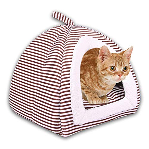 KOBWA Cat Bed Mats Self-Warming 2-in-1 Foldable Comfortable Triangle Pet Dog Cat Bed Tent House Cat Kitten Rabbit Hamster Bed Pad
