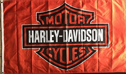 Heartland Flags Harley Davidson 2 Sided 3X5 Orange Flag