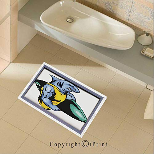 Floor Sticker PVC Decorative Grumpy Surfer Shark with Muscled Body Exotic Sports Mascot Cartoon Decorative Wall Decal Wall Sticker Decor Party Supplies Home Decoration,35.4