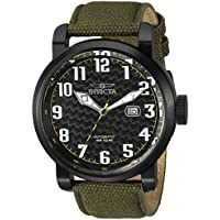 Invicta Men's 'Aviator' Japanese Automatic Stainless Steel and Silicone Casual Watch, Color:Green (Model: 23075)