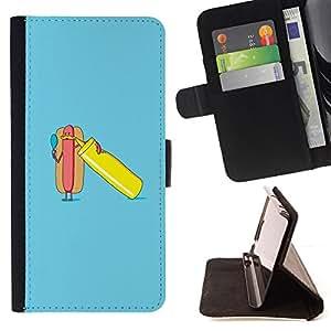 - funny blue minimalist hot dog poster - - Prima caja de la PU billetera de cuero con ranuras para tarjetas, efectivo desmontable correa para l Funny HouseFOR Sony Xperia M2