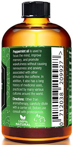 Peppermint Essential Oil, 100% Pure and Undiluted, Therapeutic Grade Aromatherapy Oil for Diffuser, Relaxation, Repel Mice & Mosquitos by Pure Body Naturals, 1 fl. oz. by Pure Body Naturals (Image #1)'